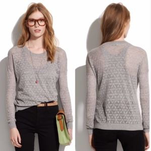 Madewell studio sweater in diamond stitch grey XS